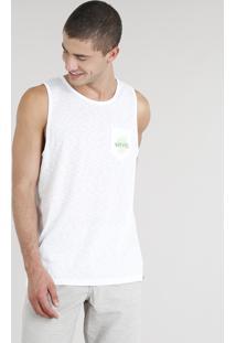 Regata Masculina Com Estampa De Folha E Bolso Gola Careca Branca