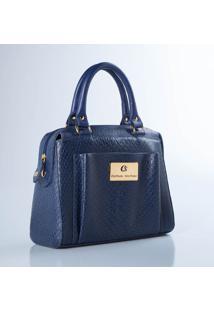 Bolsa Em Couro Texturizado- Azul Marinho & Douradacarmen Steffens
