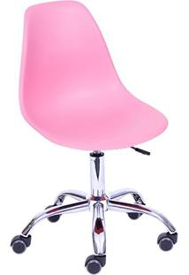 Cadeira Eames Eiffel Com Base Metal Rosa