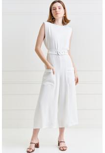 Macacão Mx Fashion Pantacourt De Crepe Malu Off White - Kanui