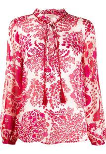 Twin-Set Blusa Com Estampa Floral Abstrata - Vermelho