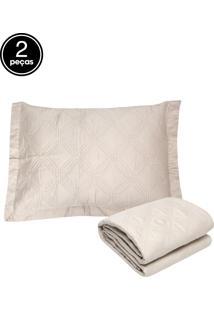 Kit 2Pçs Colcha Solteiro Corttex Living Art Premium Cinza