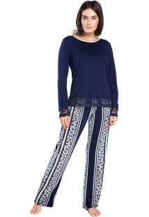 Pijama Feminino De Inverno Onça Stripe - Kanui