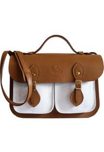 Bolsa Line Store Leather Satchel Pockets Pequena Couro Bicolor Caramelo X Branco