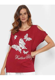 Blusa Pérola Butterfly Open Shoulder Feminina - Feminino-Vinho