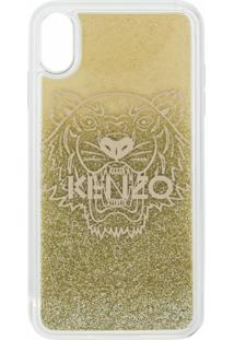 Kenzo Carteira Para Celular Com Logo - Dourado