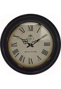 Relógio De Parede France Ferro F Branco Oldway 43X43X6