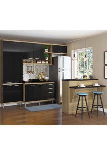 Cozinha Compacta Sicília 11 Portas 3 Gavetas Com Tampo E Bancada 5846 Preto/Argila - Multimóveis