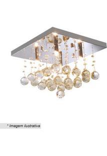 Hevvy Plafon Quadrado Com Pingentes Cristal & ÂMbar 24X34Cm Bivolt