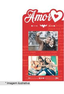 "Painel Para 2 Fotos ""Amor""- Vermelho & Branco- 35X20Kapos"
