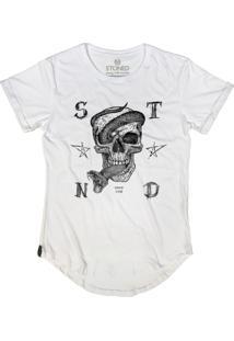 Camiseta Longline Stoned Snake Skull Branco