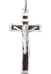 Pingente Cruz C/ Cristo De Prata C/ Madeira - Unissex-Prata