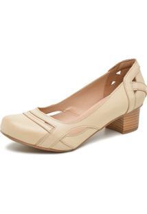 Sapato Retrô Salto Quadrado Dhl Feminino Bege - Kanui