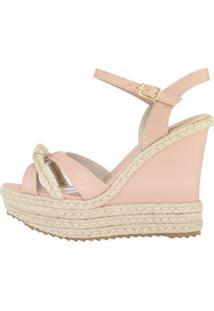 Sandália Salto Alto Week Shoes Anabela Espadrille Rosado