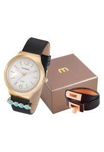 Kit De Relógio Analógico Mondaine Feminino + Pulseira - 99021Lpmkdh2K3 Dourado