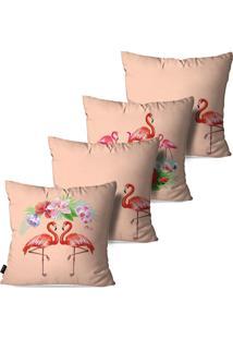 Kit Com 4 Capas Para Almofadas Pump Up Decorativas Rosa Envelhecido Flamingos E Flores 45X45Cm