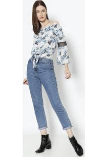 Blusa Ciganinha Com Tela - Cinza & Azulendless