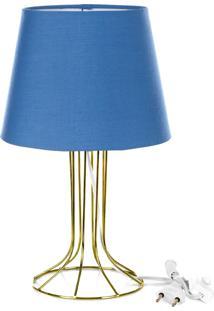 Abajur Torre Dome Azul Com Aramado Dourado - Azul - Dafiti