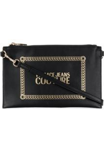 Versace Jeans Clutch Com Estampa De Logo - Preto