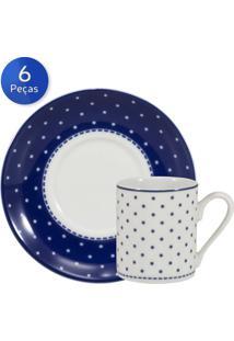 Conjunto 6 Xícaras De Café Com Pires Maitê - Schmidt - Branco / Azul