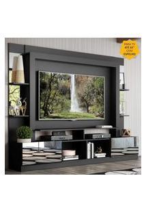 """Rack Estante C/ Painel Tv 65"""" E Espelho Oslo Multimóveis Preto"""