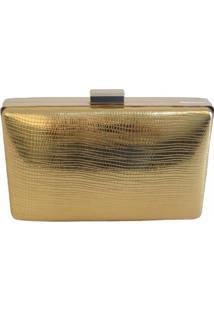Bolsa Real Arte Clutch Brilho Dourada
