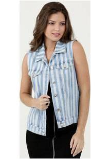 Colete Feminino Jeans Listrado Marisa