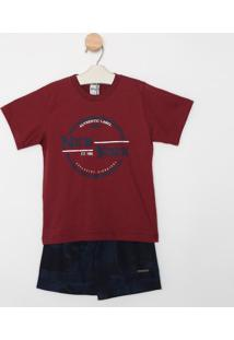 "Conjunto De Camiseta ""New York"" + Bermuda - Vinho & Azultime Kids"
