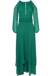 Vestido Bobô Cleópatra Longo Festa Seda Verde Feminino (Verde Claro, 46)