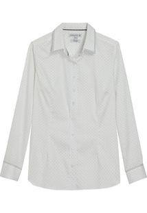 Camisa Dudalina Manga Longa Tricoline Estampado Feminina (Estampado, 44)