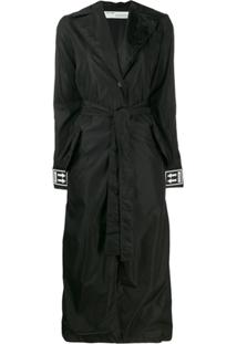 Off-White Cuff Logo Belted Trench Coat - Preto