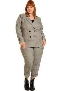 Blazer Plus Size Alfaiataria Xadrez Gales Feminino - Feminino-Preto