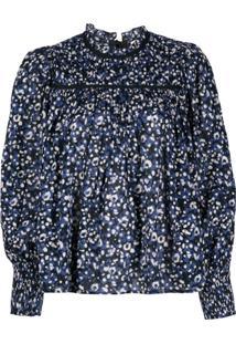 Ulla Johnson Blusa Amina Com Estampa Floral - Azul