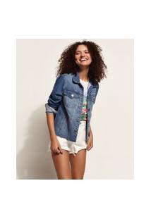 Jaqueta Jeans Feminina Cropped Estampa Mulher Barra Fio Azul Médio