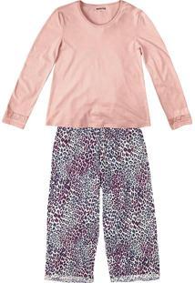 Pijama Feminino Hering Com Blusa E Calça Capri