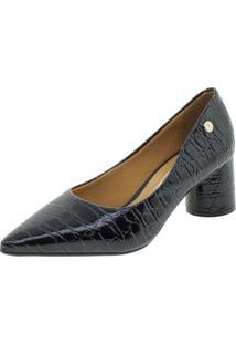 Sapato Feminino Salto Baixo Vizzano - 1279100 Preto/Croco