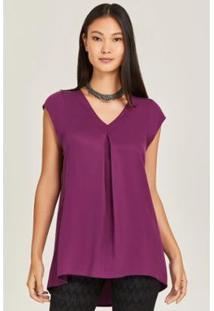 Blusa Alongada Abertura Traseira Purple Feminina - Feminino-Roxo