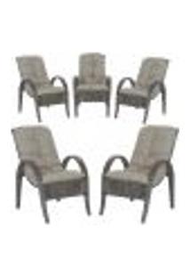 Cadeiras 5Un P/ Jardim Lazer Edicula Varanda Descanso Fibra E Tramas Napoli Plus Tabaco A38