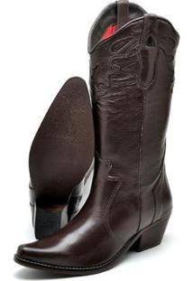 Bota Texana Country Su Fashion Store Couro Cano Longo Bico Fino Feminina - Feminino-Café