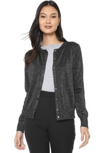 Cardigan Lã Banana Republic Crew Lurex Shine Preto