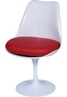 Cadeira Saarinen Tulipa Branca Assento Vermelho