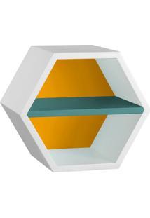 Nicho Hexagonal Favo Ii Com Prateleira Branco Com Amarelo E Azul Claro