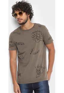 Camiseta Replay Rock'N'Roll Masculina - Masculino-Verde Escuro
