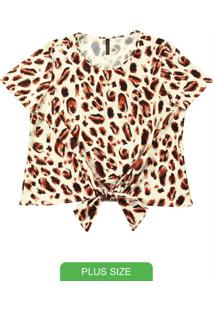 Blusa Com Estampa Animal Print Bege