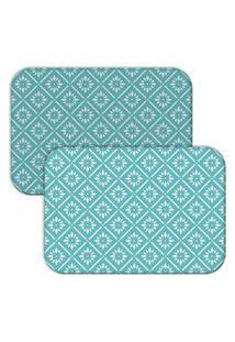 Jogo Americano Love Decor Wevans Blue Geometric Azul