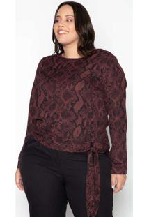 Blusa Almaria Plus Size Leeban Crepe Estampado Rox