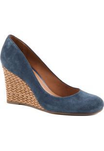 Sapato Anabela Com Salto Texturizado- Azul Escuro & Marrarezzo & Co.