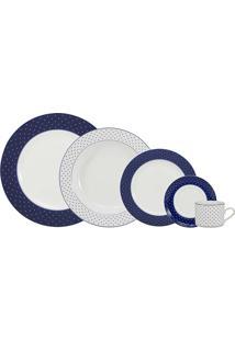 Aparelho De Jantar 20 Peças Maitê - Schmidt - Branco / Azul