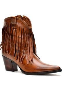Bota Texana Capelli Boots Franja Country Couro Franjas Feminina - Feminino-Marrom