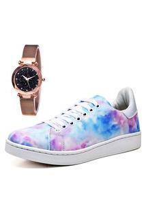 Tênis Sapatênis Fashion City Com Relógio Gold Feminino Juilli 734Li Colorido